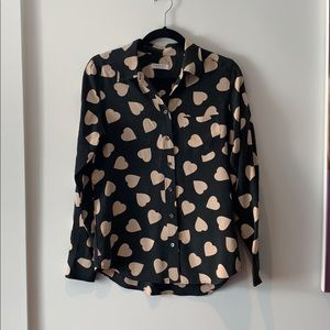 "Equipment Tops - Equipment ""Brett"" silk heart print shirt S"